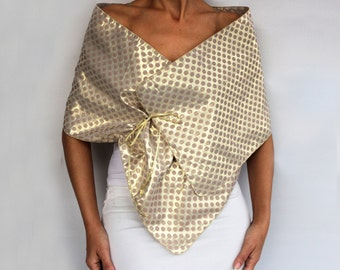 Evening Shawl Wrap, Gold Beige Polka Dot Taffeta Shrug Special Occasion Wedding Mother of the Bride Shoulder Stole Dress Cover Retro Fashion