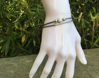 Bracelet double leather and silver beads