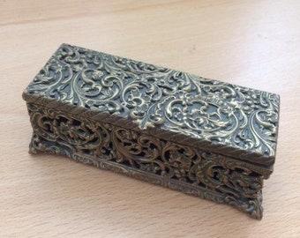 Vintage Brass Rectangular Filigree Trinket Box