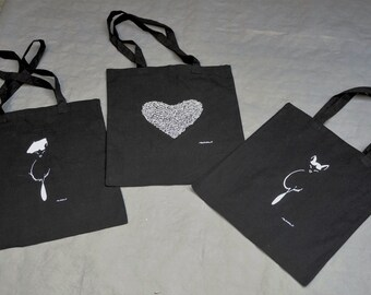 shopper with cats, dogs, hearts and co.-bags with dogs, cats hearts & co.