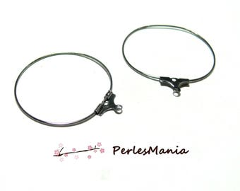 10 earrings Creole hoop EARRINGS 30 mm GUN METAL ref8210 quality