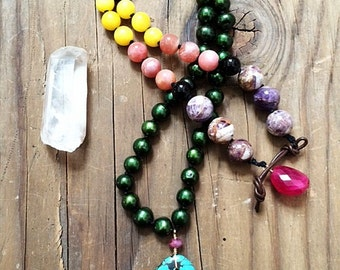 Long Turquoise Necklace | Knotted Freshwater Pearl | Saffron Jade | Black Onyx | Amethyst | Ruby | Bohemian | Gesmtone