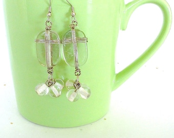 Vintage Beaded Earrings. Crystal Clear Glass Beads. Silver Tone Wire Wrap. Dangle/Drop Earrings. Boho Chic. Handmade. Chunky. 1980s. Unique
