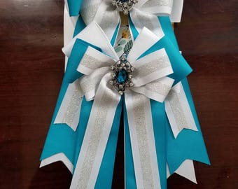 Turquoise and White Equestrian Bows (Grand Champion Size)