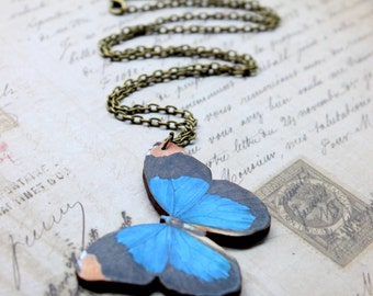 Blue Butterfly Necklace, Wood Pendant, Illustration Jewelry, Woodland Necklace