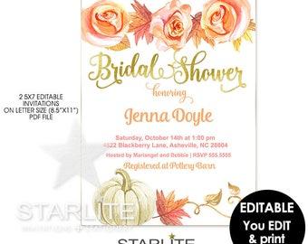 Fall Bridal Shower Invitation Floral Pumpkin Leaves, EDITABLE Instant Download, Fall Bridal Shower Invitation Template, Printable Invitation