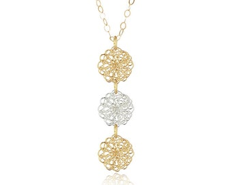 Crocheted Simple Triple Tier Soma Necklace - Item #N320-XS