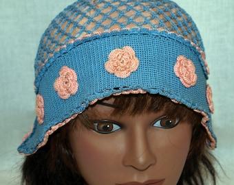 Victorian Crocheted Ladies Cap Hat Pink Blue