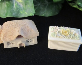 Vintage Trinket Boxes, flowers, roses, thatched roof, Irish, Ireland, gift for her, Mother's Day