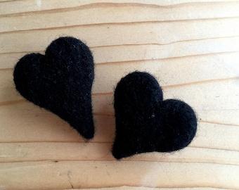 Two black heart brooches, wool heart brooch, black heart brooch, gothic brooch, goth style, gothic jewelry, eco brooch, needle felted brooch