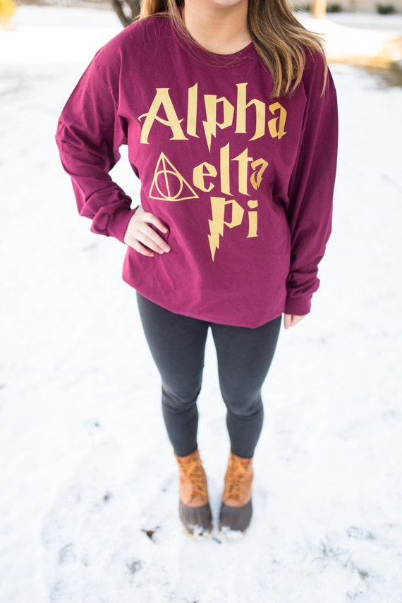 Harry Potter Greek t shirt, ADPi shirt, kappa delta shirt, delta zeta shirt,  crew neck sweatshirt, long sleeve Harry potter sorority shirt