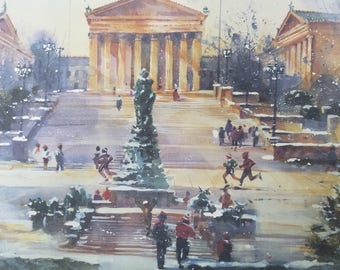 Art Museum Philadelphia, signed numbered 25X30 print by Carolyn Anderson