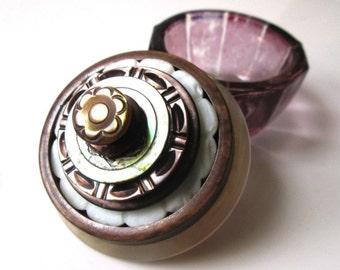 Vintage Button Ring Box and Proposal Box:  Purple and Mother of Pearl Vintage Button & Purple Glass Salt Cellar Jewelry Box