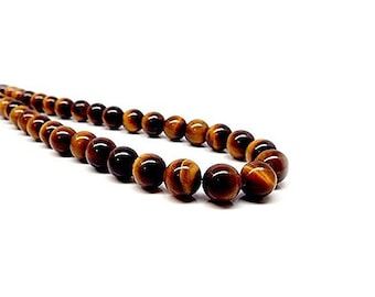 MEN Necklace, Choker Necklace, Tiger Eye Necklace for Men, Mens Jewelry, Mens Beaded Necklace, Gemstone Necklace, Tiger Eye Bead Necklace