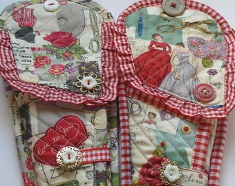 Quilted 2 pocket scissor pouch with needle-book