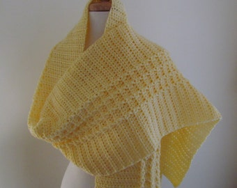 """Yellow Wrap Shawl  - Hand Crochet Light Yellow Shawl Wrap 14"""" x 80"""" - Ready to Ship - Direct Checkout - Gift for Her"""