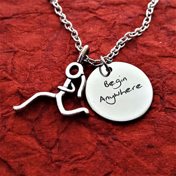 Gift for Runners, Running Fitness Jewelry, Begin Anywhere Charm, CrossFit Gift for Coach Team Trainer, Motivational Triathlon Marathon Charm