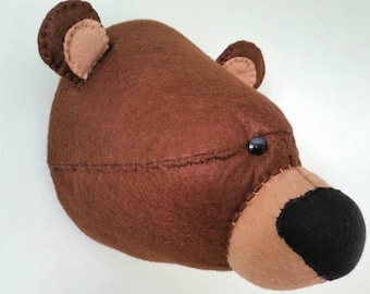 GRIZZLY BEAR - Faux Taxidermy - Felt Wall Mounted Animal Head - Gus Grizzly Bear - brown - wall decor.