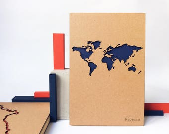 World map travel journal custom personalized notebook custom personalized notebook with custom text engraved world map travel notebook custom bullet journal gumiabroncs Image collections