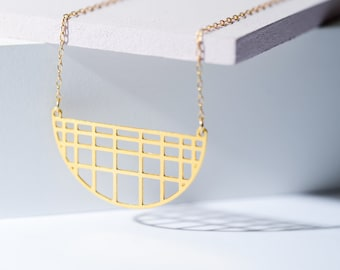 MIZYAN's gold plated grid necklace, square geometric accessories, gift for her, half a circle necklace, chic jewelry,