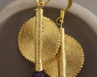 Aflé Bijoux African Earrings: Dark Amethyst Earrings
