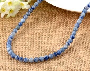 Blue Aventurine Faceted Round 6mm Gemstone Beads