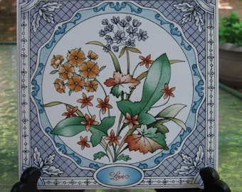 1983 Avon Floral Expression Ceramic Tile - Love