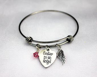 Sister To An Angel Adjustable Bangle Charm Bracelet With Silver Angel Wing Charm and Swarovski Birthstone Crystal