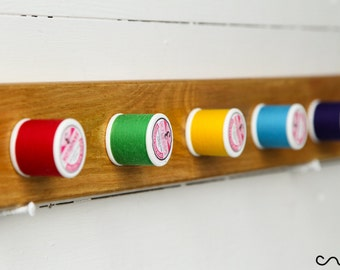 Handmade Wooden Coat Rack Unique Solid Wood Waxed Rainbow Thread-Peg Wall Mounted Coat Rack 5 Hooks