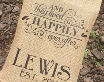 PERSONALIZED GARDEN FLAG   Burlap Garden Flag   And They Lived Happily Ever  After   New Home   Just Married   Monogram Garden Flag