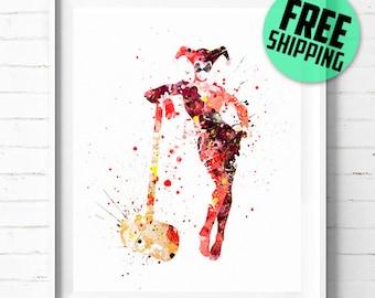 Batman Harley Quinn print, Superhero wall art, Joker Harley Quinn poster, Superhero print, Batman print, Batman watercolor art, [131] decor