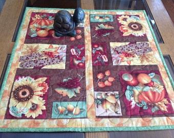 "21"" square reversible autumn harvest table topper"