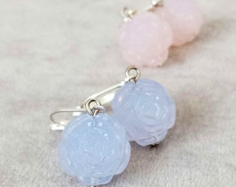 Delicate rare Vintage Lucite roses earrings, Pastel Rose Blue earrings, Bridal wedding jewellery, Bridesmaid earrings, gift for her