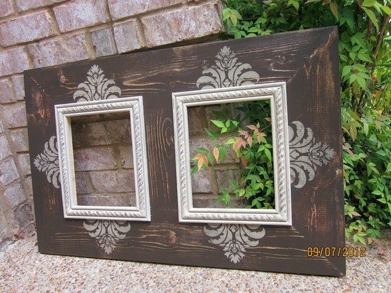 Items similar to Double 8x10, Distressed Picture Frame, Asphaltum ...