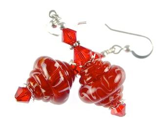 Lampwork Earrings, Red White Saucer Earrings, Glass Bead Earrings, Lampwork Jewelry, Beadwork Earrings, Beaded Earrings, Glass Bead Jewelry