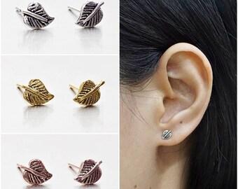 925 Sterling Silver Oxidized Earrings, Leaf Earrings, Gold Plated Earrings, Rose Gold Plated Earrings, Stud Earrings (Code : K16A)