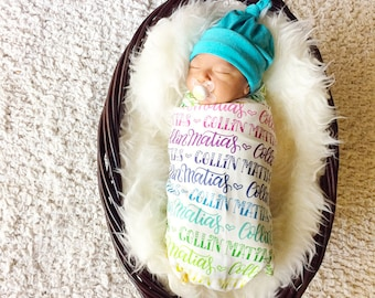 The ORIGINAL rainbow personalized swaddle - Rainbow baby - Organic cotton knit - Birth announcement - Personalized swaddle
