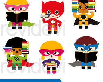Back to school clipart sale / Superhero with books, Superhero holding books clip art, instant download commerical use, boys girls clipart
