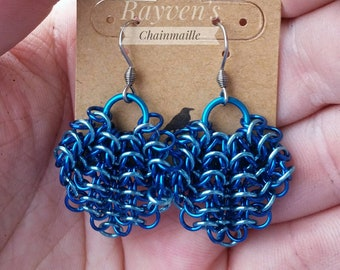 Blue Gathered Euro Chainmaille Chainmail Earrings