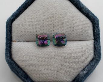 8mm Rainbow Mystic Topaz Antique Cushion Loose Faceted Gem Pair