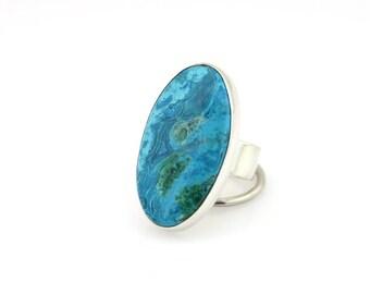 Size 9 Inspiration Mine Chrysocolla Ring Chrysocolla Statement Ring Sterling Silver Chrysocolla Ring Wide band Chrysocolla ring  Chrysocolla
