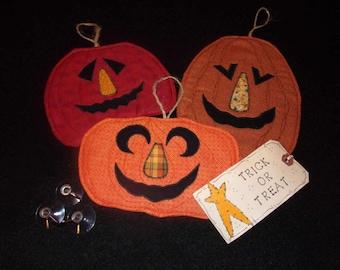 Primitive Whimsical Halloween Pumpkins HAPPY JACKS Jack-o-Lanterns Window Clings Coasters Mug Mats Trivets (HJWC-007)