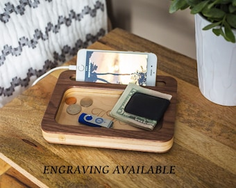 Docking Station PERSONALIZED MENS GIFT Gifts For Men Fathers Day Gift Wooden Ideas Boyfriend