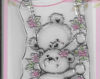 Wild Rose Studio Clear Stamp -- NEW -- Bears on Swing -- (#2287)