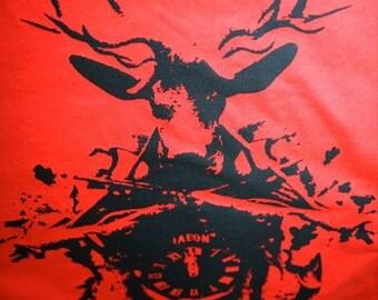 cuckoo clock tshirt, Clock t-shirt, men's red tshirt, graphic tee, screenprinting, silkscreened t-shirt XXL