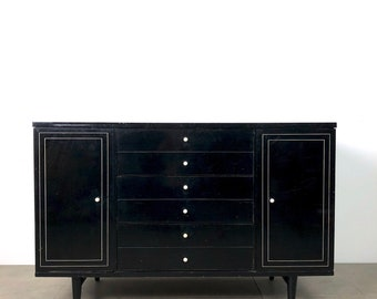 American of Martinsville Black Lacquer Buffet 1950's