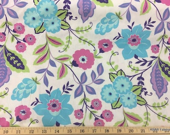 Purple Aqua Periwinkle Large Floral Fabric Flowers All Over Cotton Quilting Apparel Fabric a1/32