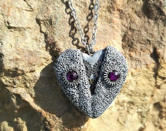 stone in polymer clay steampunk Heart Necklace.