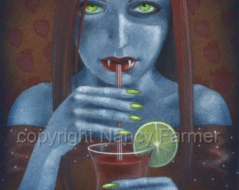 SALE! - 'Bloody Mary, or, Vampire at a Cocktail Party' - fantasy fetish art print