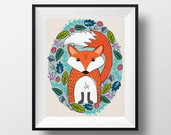 Fox Print, hand drawn, illustrated Fox, Fox Wall Art, Woodland Nursery Art Print, Fox Art, home art, nursery art, woodland animal